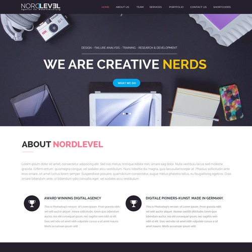 Homepage for our Web Agency