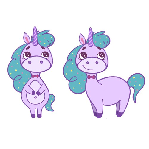 Unicorn for children party products (sketch of the character)