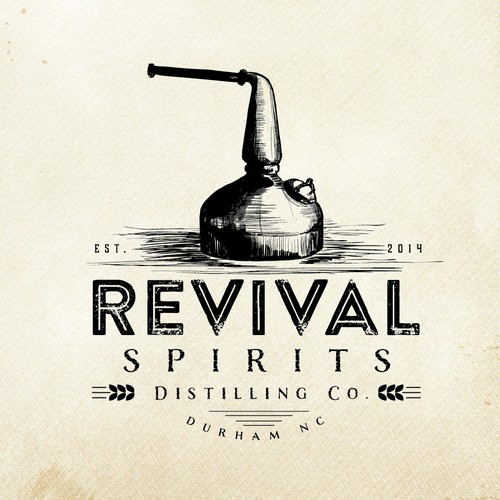 Old School craft distillery logo for Revival Spirits Distilling Co.