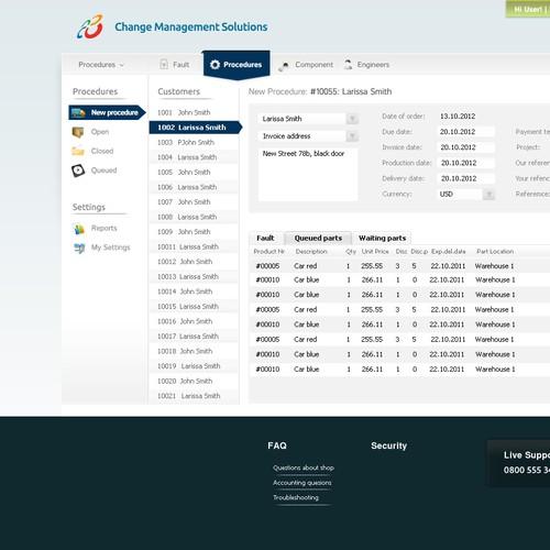 website or app design for Change Management Software