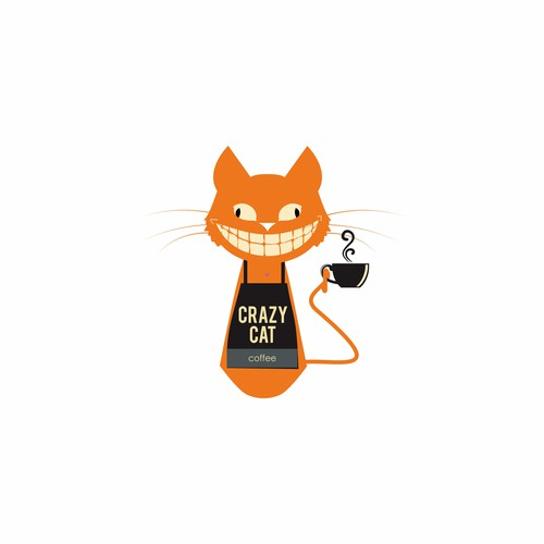 Crazy Cat Cofee Cafe Logo Design