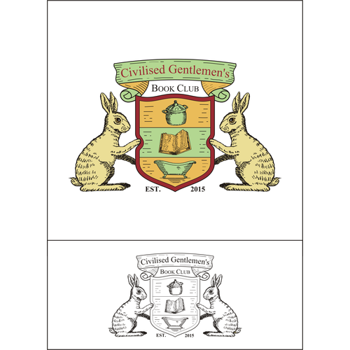 Coat of arms style logo for a book club