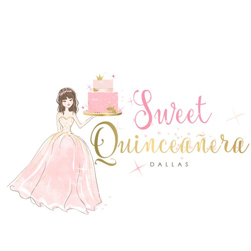 Cute logo for Quinceañera cakes and Pastries
