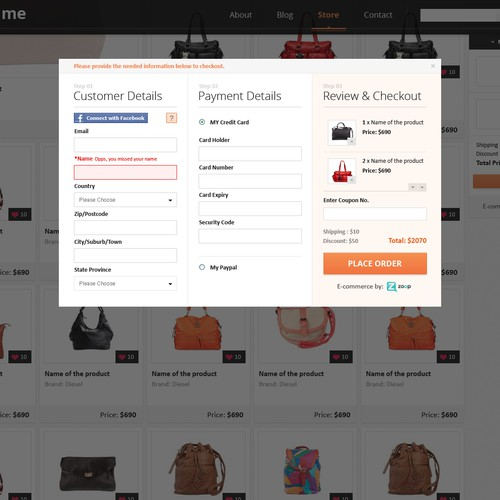 Responsive template for E-Commerce storefront