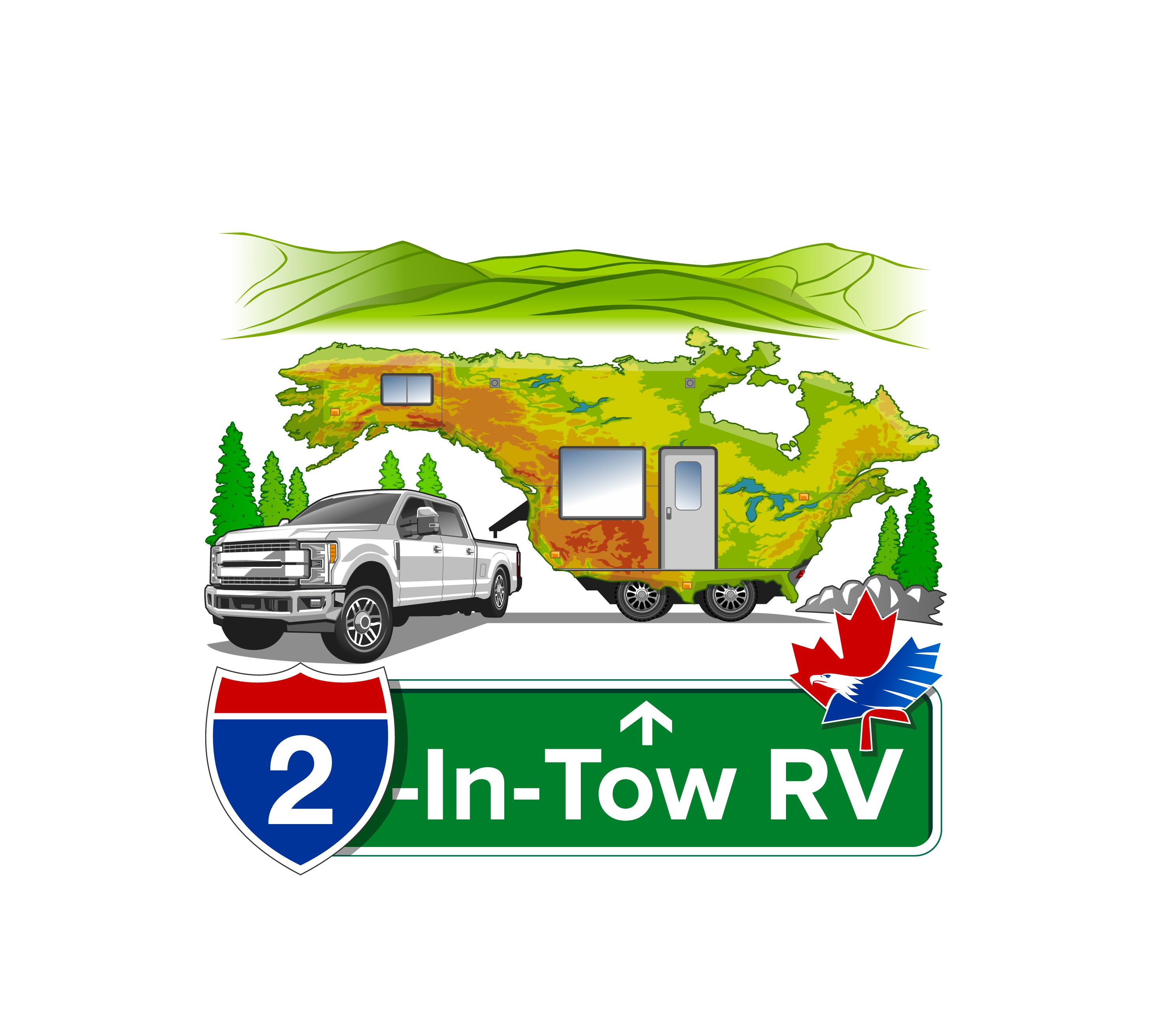 Illustrated, fun, modern, cartoon style logo for couple traveling in a fifth wheel with truck