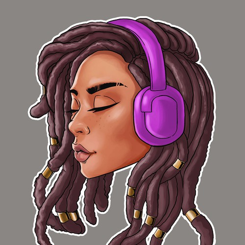 Cartoon of headphone girl