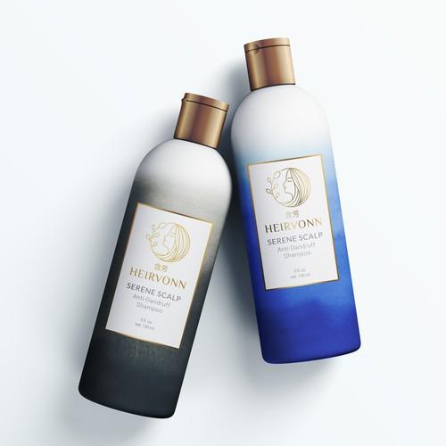 WINNER Shampoo label design for luxury haircare brand