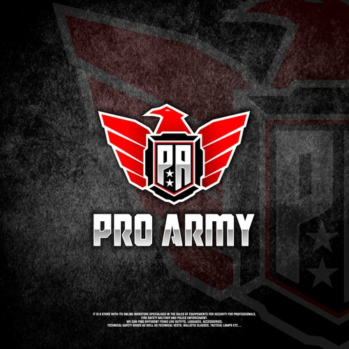 Pro Army search a logo for the store and the website