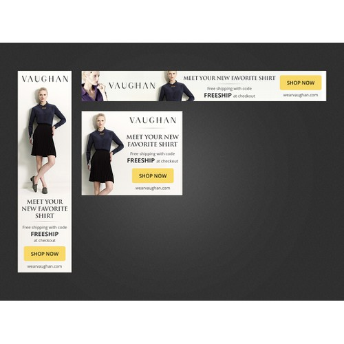 Banner ad design for an indie women's fashion brand