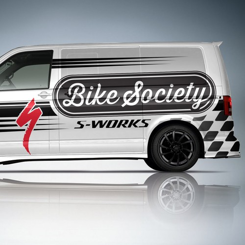 Create a vehicle wrap design for Bike Society