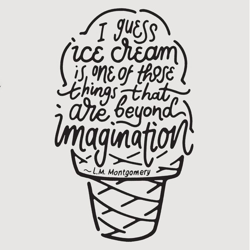 Custom Lettering Design for Ice Cream T-Shirt