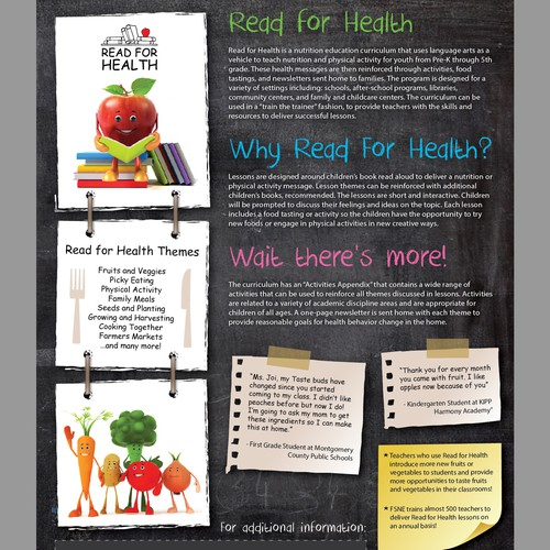 Create a snazzy promotional for nutrition and reading curriculum