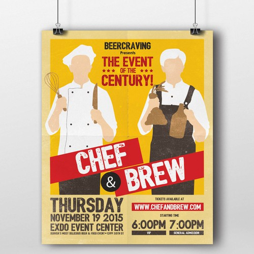 "Chef and Brew wants YOU ! Design: make a beer fest ""boxing poster"""