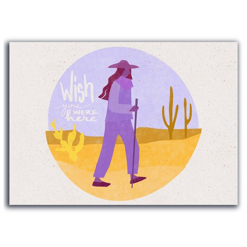 Illustration for quarantine inspired postcard