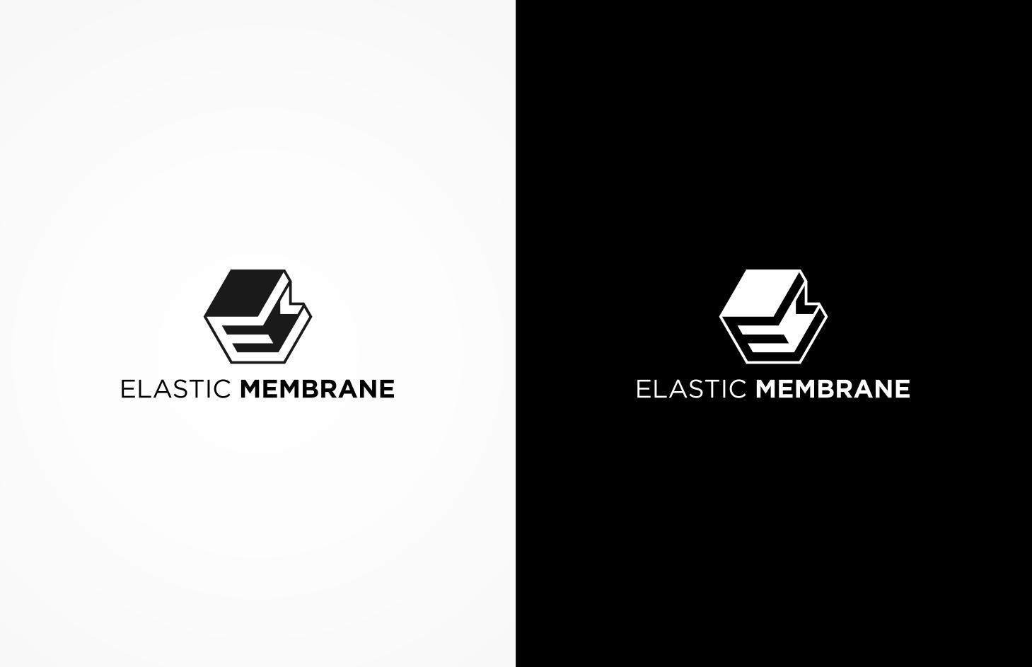 Create a modern geometric techno-style logo for Elastic Membrane