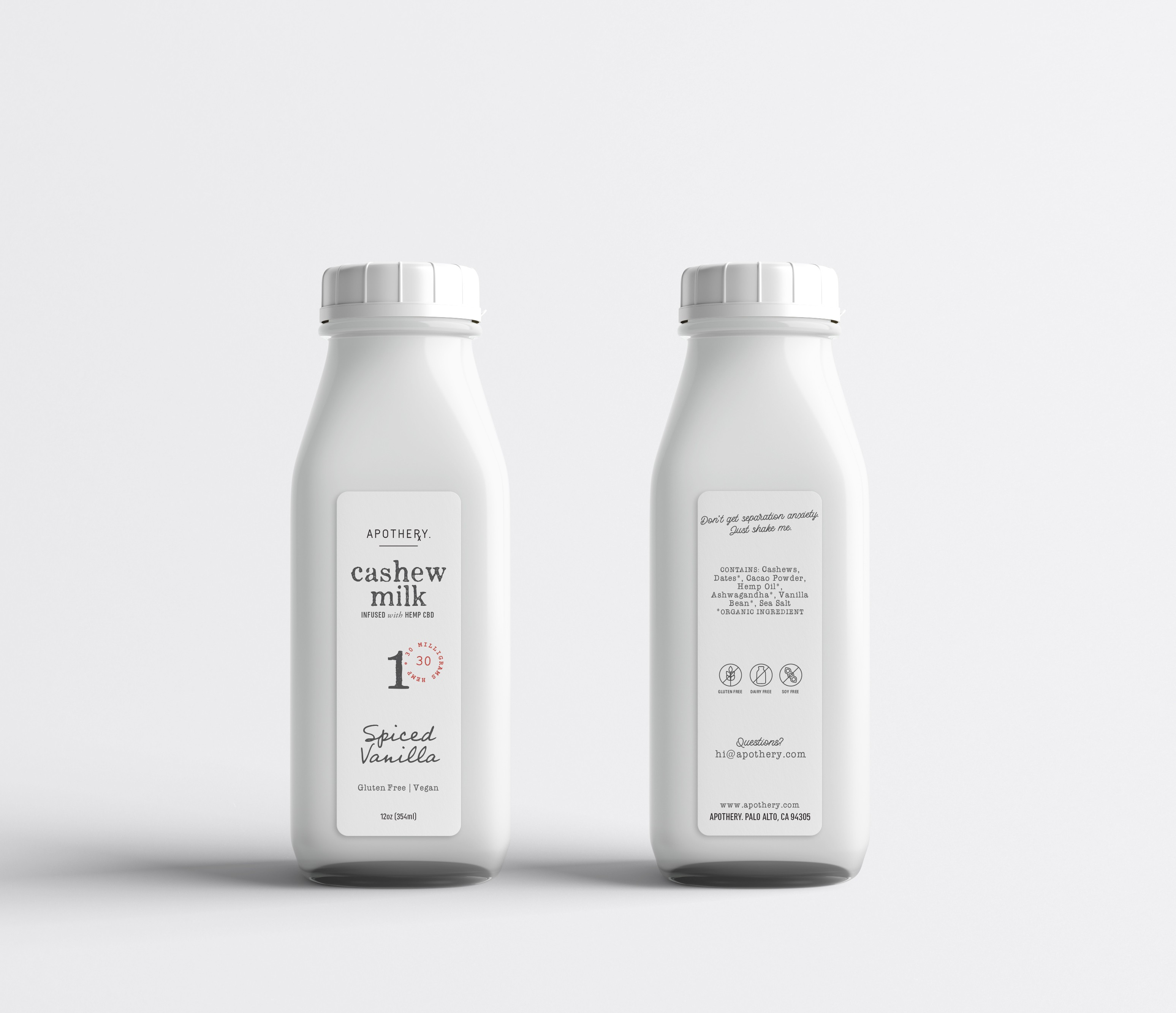 Packaging for Apothery, a luscious cashew milk infused with CBD oil.