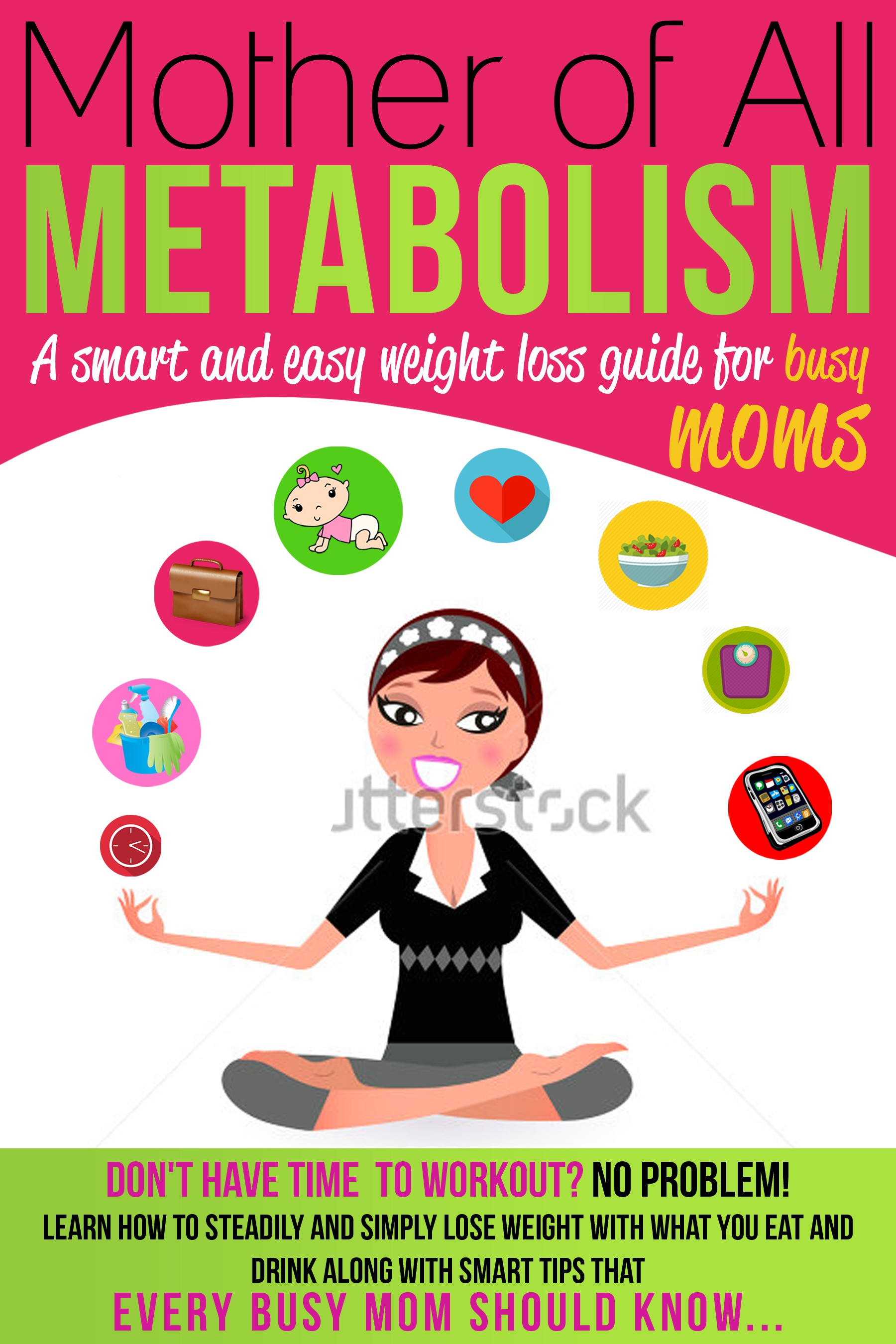 Create a fun and modern ebook cover for busy moms wanting to lose weight