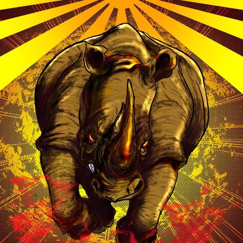 Furious and Maddened Rhino Head