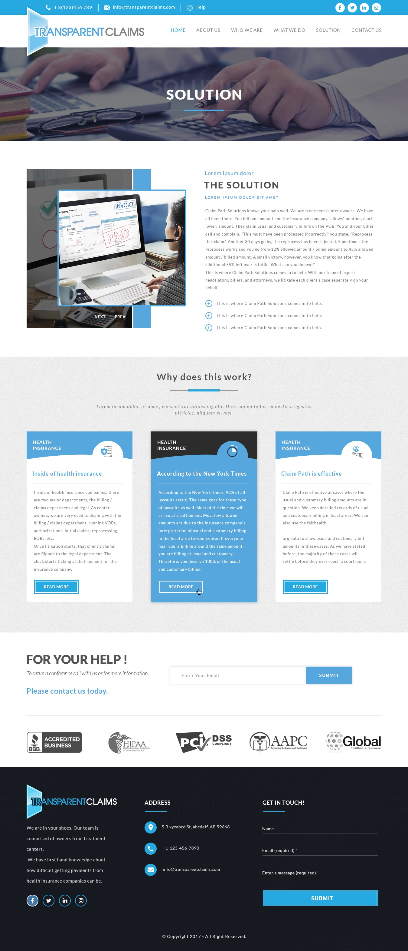 VERY MODERN, Medical Billing and Collection Company Home Page and Internal Page Design Contest