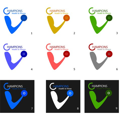 Logo designs for CHAMPIONS health& fitness