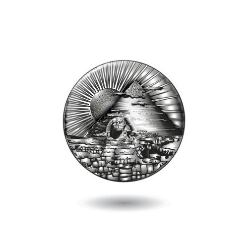 Create a captivating Pyramid of Giza design for a silver coin!