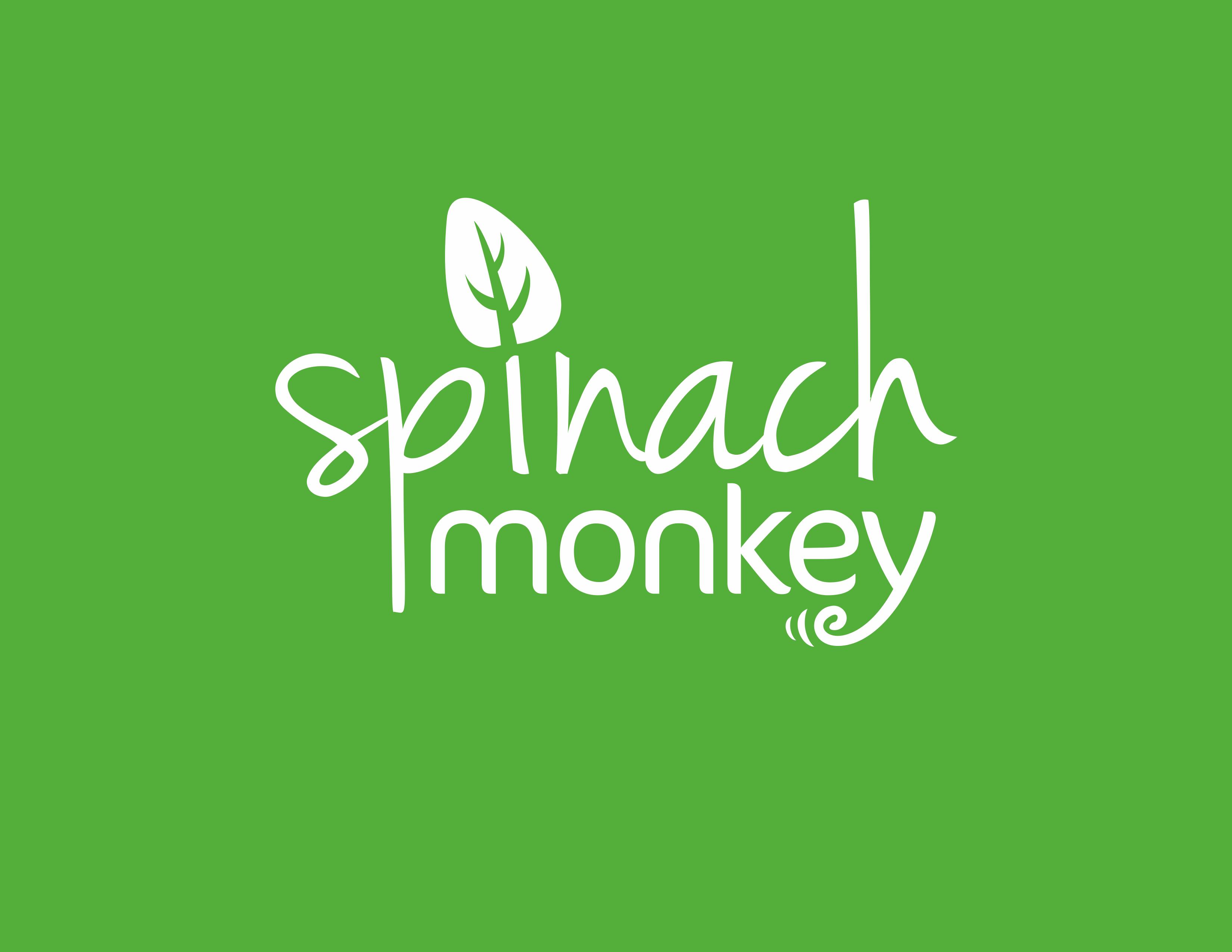 Design a fun fresh logo for a healthy food blog/business called Spinach Monkey