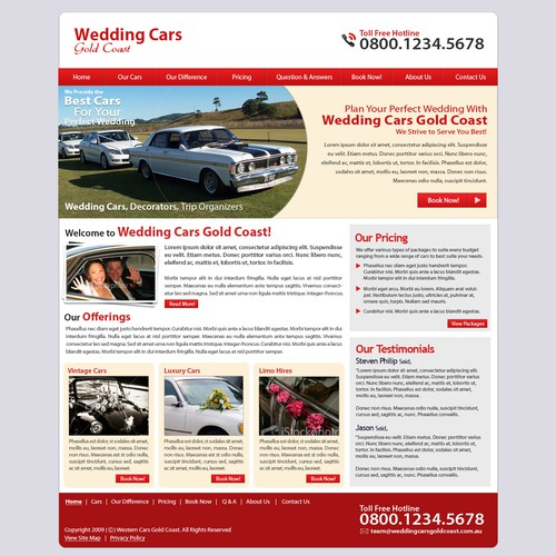 Make us fall in love with your design for this Wedding Cars site