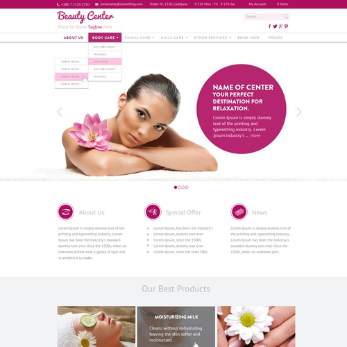 homepage for a beauty center