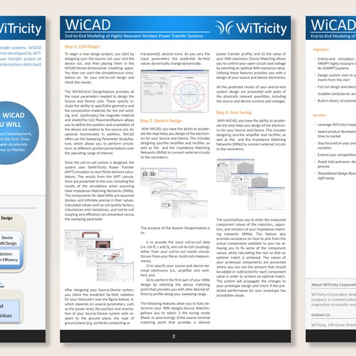 Create a new look for WiTricity datasheets and Mac Pages template