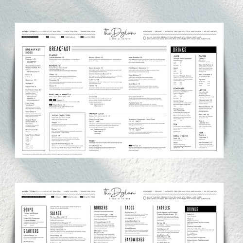 Menu Design for The Dylan