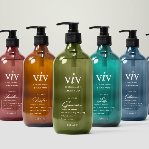 Luxury minimalistic bottle-design needed for customized hair care products(mostly tailored to women)