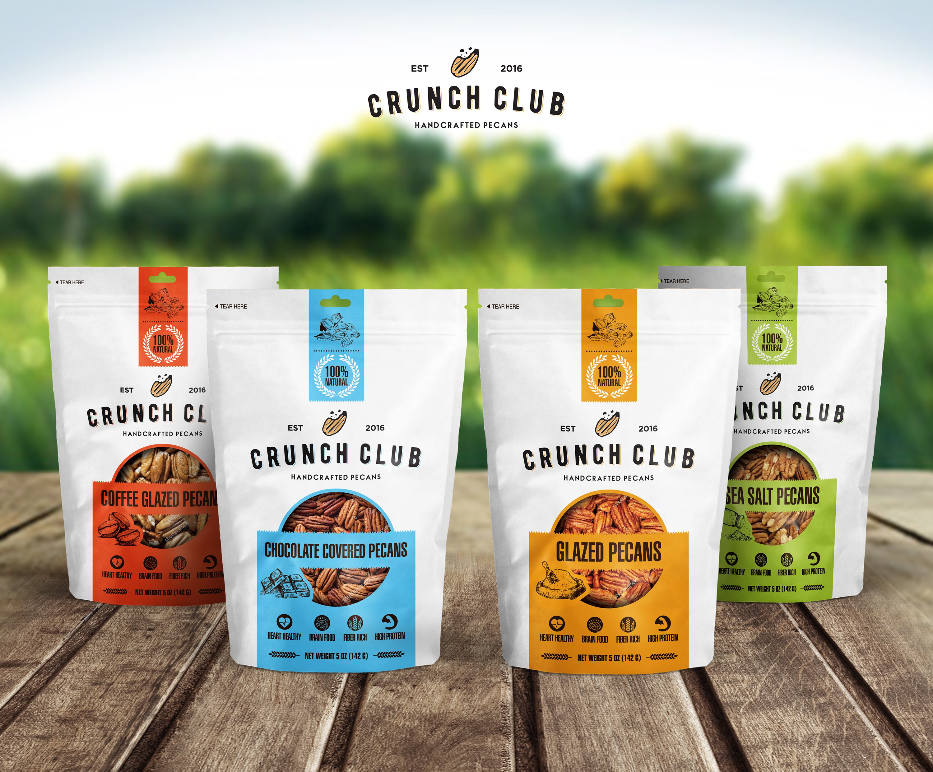 Clean and modern pouch design needed for gourmet pecan company
