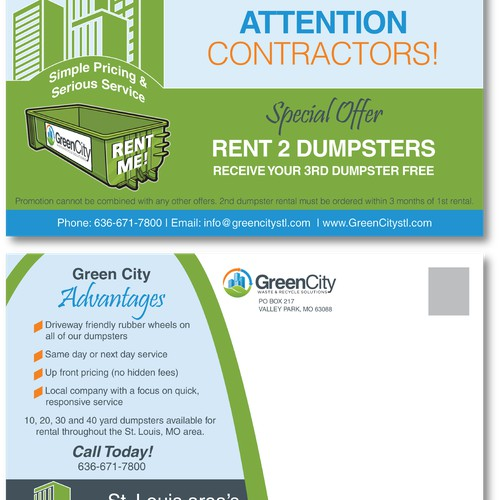 Create an eye catching postcard for Green City Waste & Recycle Solutions