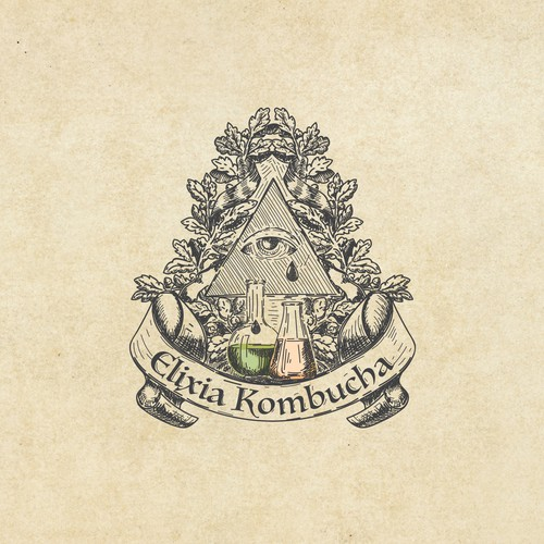 Logo concept for kombucha & an ancient fermented tea with vintage filling