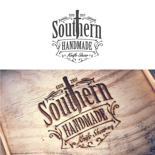 A unique logo of Southern Handmade Knife Show.