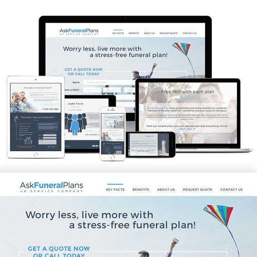 Landing Page design for funeral plan company