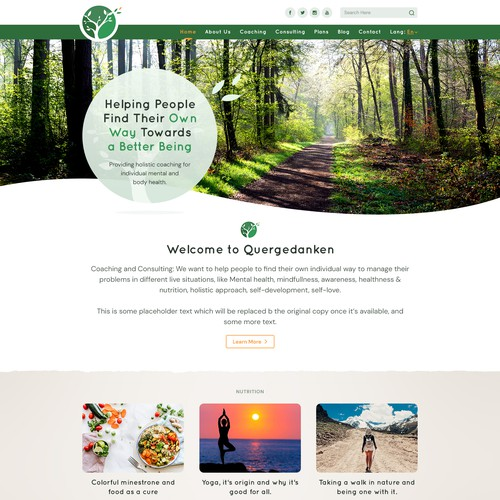 Home page concept for Quergedanken