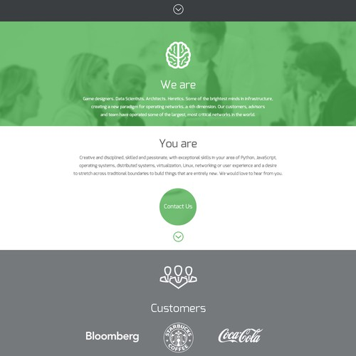 Bold, elegant splash site for transformation start-up in networking