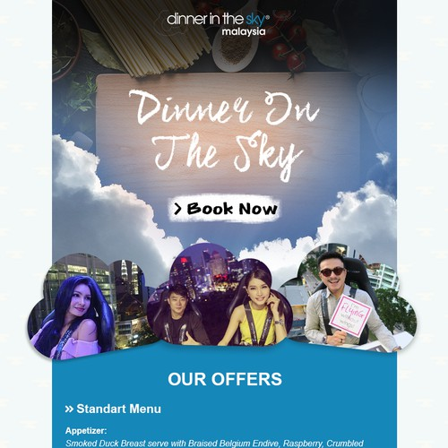 Email Design for Dinner in the Sky