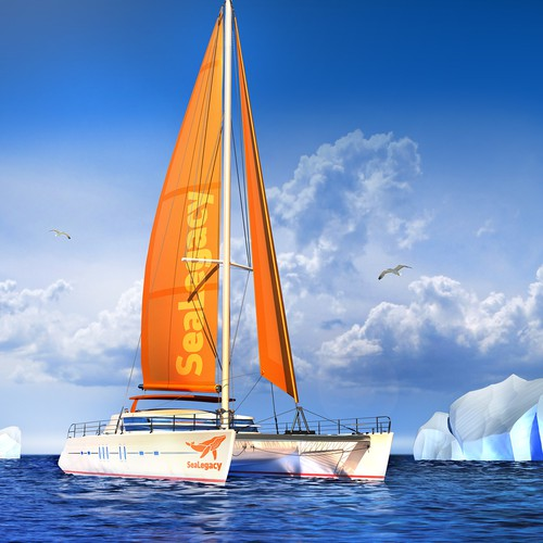 3d model of the catamaran in the sea