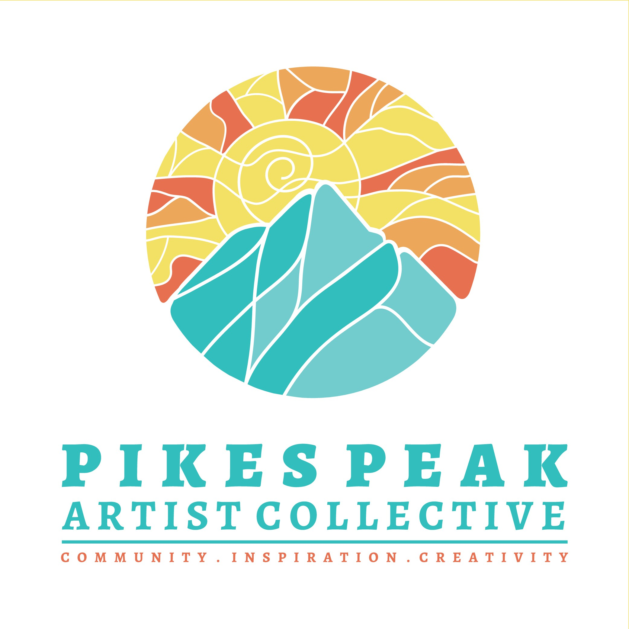 Design a logo for an artist collective studio located at the base of Pikes Peak mountain