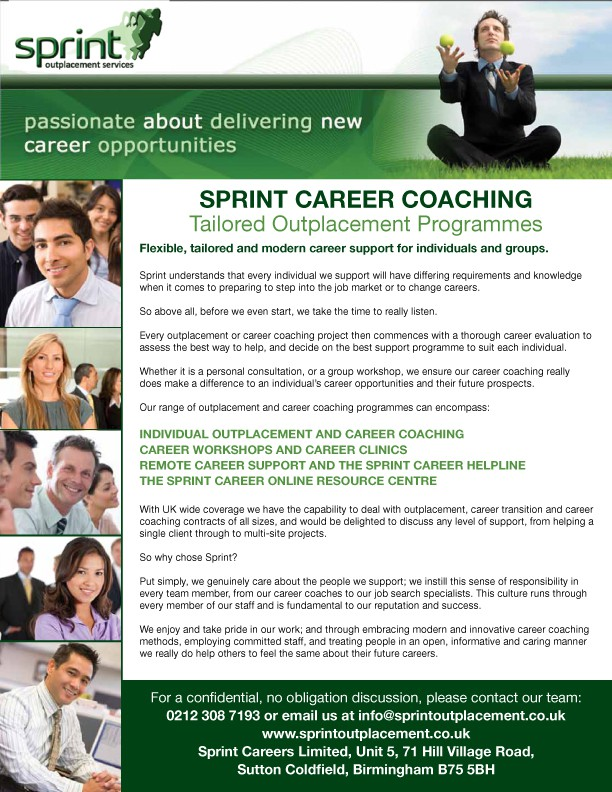 Create the next print or packaging design for Sprint Careers Limited