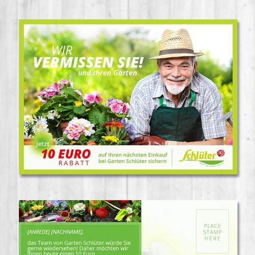 A beautiful postcard for e-shop selling flowers and gardening supplies.