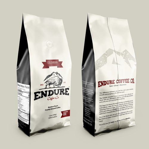 Bold, Driven, Relentless. Cofee Bag Packaging Design for Endure Coffee Co.