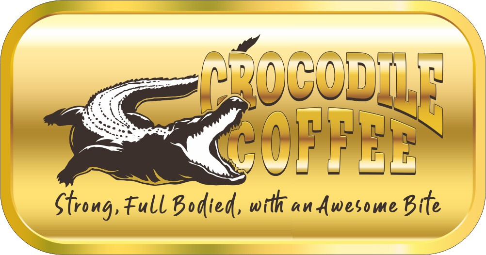Design an iconic coffee logo reminiscent of the Crocodile Dundee movies