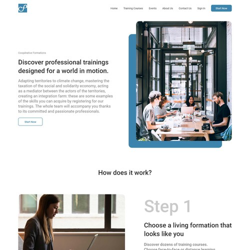 Landing page for Coopérative Formations training website