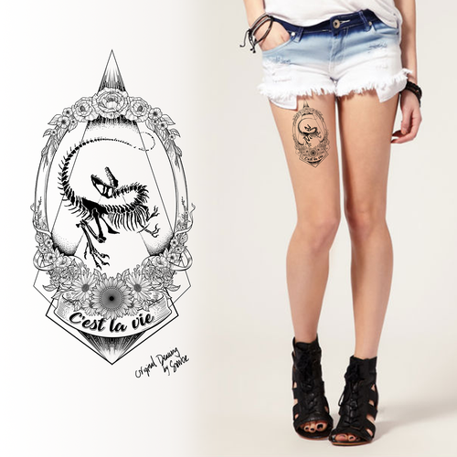 Design a striking & feminine tattoo with a velociraptor fossil & flowers