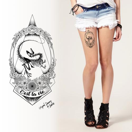 Design a striking & feminine tattoo with a velociraptor fossil & flowers