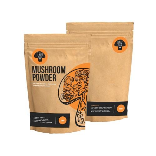 Vintage modern medical supplement Mushroom Powder packaging