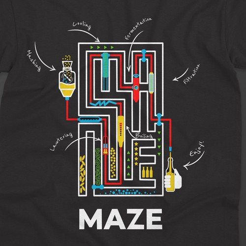 T-shirt design for Maze brewing company